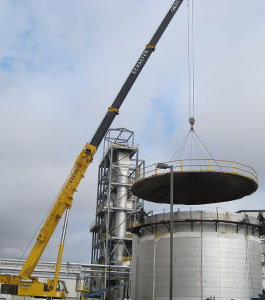 Schaefer Crane Service heavy lifting a top to a silo